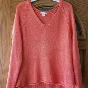 Knited vneck coral sweater